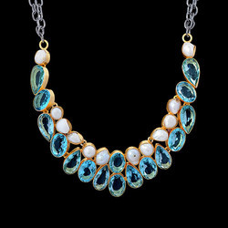 Gold Plated Blue Topaz And Pearl Stone Women Choker Necklace