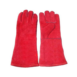 Large Red Winter Leather Hand Gloves