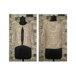 Plain Full Sleeve Ladies Sequin Beaded Top