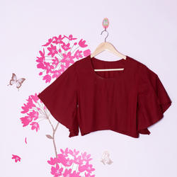 Crop Top in Rayon with Bell Sleeves