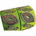 Broad Silk Thread Kundan Bangles
