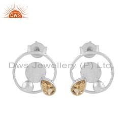 Round Design 925 Fine Silver Citrine Gemstone Earrings