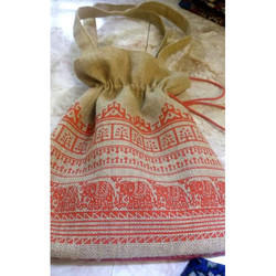 Printed Jute String Bag