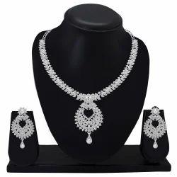 Padmavati Diamond Silver Plated Designer Necklace Set