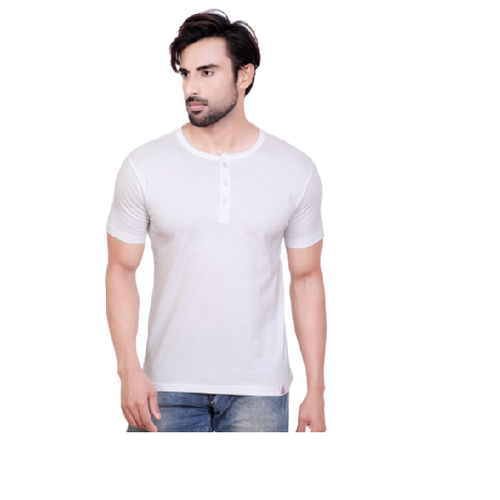 78b8ee38 Medium And Large Pyramid White Henley Neck T Shirt, Rs 240 /piece ...