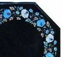 Octagonal Marble Inlay Table Top, Black Marble