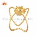 Green Tourmaline Gemstone Women Gold Plated Silver Statement Ring Jewelry