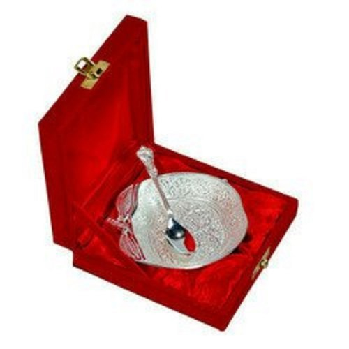 Circular Silver Plated Plate With Spoon, Packaging Type: Box, For Gift Purpose