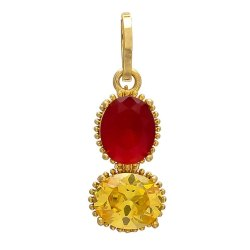 Two Stone Pearl, Yellow Sapphire, Neelam, Manik, Panna, Coral, Brass Pendant