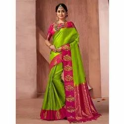 Festival Wear Fancy Border Silk Saree, 6 M (With Blouse Piece)