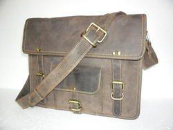 Grey Leather Laptop Shoulder Bag