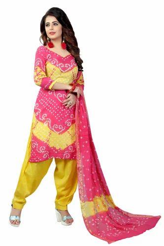 Cotton Casual Wear , Formal Wear V Batik Bandhani Dress Material ...