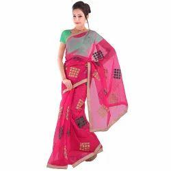 Resham n Zari Work Supernet Saree 303