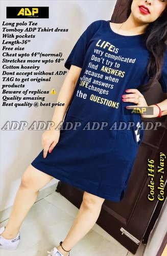 """ADP Long Tee Cum Dress Wear As Tomboy Adp T Shirt Dress With Sneakers With  Pockets Length-36"""""""