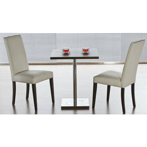 Wooden, Glass Two Seater Stainless Steel Dining Table, Shape: Rectanguler