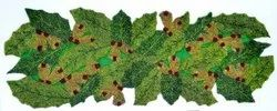 Kavita Fashions Embroidery Leaf Pattern Beaded Green & Golden Table Runner, Size: 35x13 inch