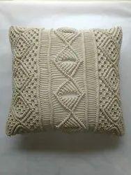 Pihue Crosia work Macrame Cushion Cover, 5, Size: 16 Inch