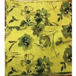 Yellow Black Flower Print Fabric