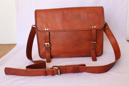 Natural Brown Simple Leather Satchel Bag