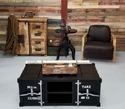 Black Industrial Metal Coffee Table, Container Style