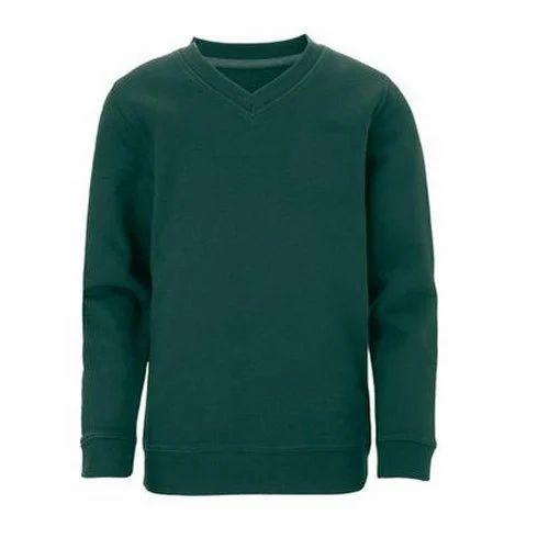 127b7b4565baf1 Woolen V Neck Dark Green Full Sleeves School Sweater, Rs 140 /piece ...