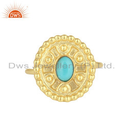 Arizona Turquoise Designer 18k Gold On 925 Silver Ring