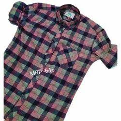 Kje Casual Wear Mens Stylish Cotton Checks Shirt, Machine wash, Size: 38-42