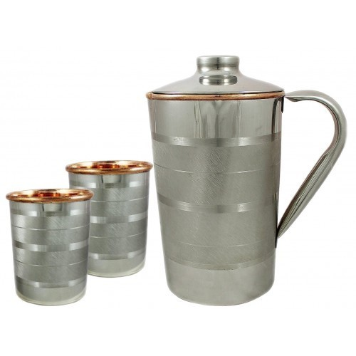 Stainless Steel Jug Water Pitcher /& 4 Stainless Steel Glasses Cup Tumblers
