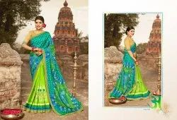 Casual Wear  Green Printed Saree, 6.3 m (With Blouse Piece)