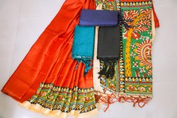Printed Khadi Silk Saree with Tassel