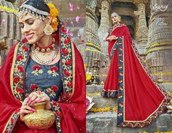 Red   Stylish Fancy Designer Sarees