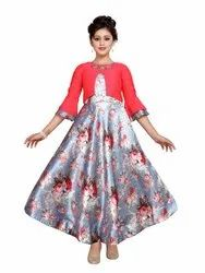 Printed Silk Adiva Girls Floral Print Pink Party Wear Gown, Size: 22 To 36