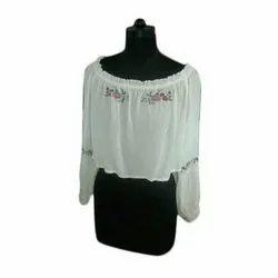 Round Neck Printed Ladies White Cotton Top