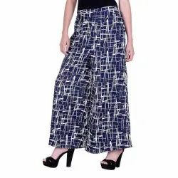 Crepe Printed Striped Palazzo Pants for Ladies