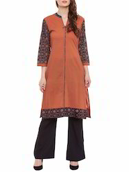 Designer Cotton Printed Sleeves Kurti