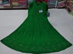 Stitched Multicolor Chanderi Silk Embroidered Anarkali Suits, Dry clean