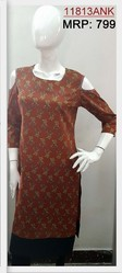 Cold Shouldered Printed Ladies Casual Cotton Kurti