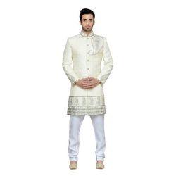 White Printed Designer Sherwani