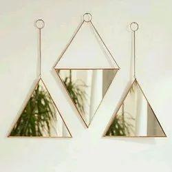 Brass and Glass Triangle Decorative Mirror, Size: 10 Inch