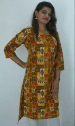 Cotton And Cotton Cambric Casual Wear Ladies Fancy Ethnic Kurti, Hand Wash, Machine Wash, Size: Available In S To XXXL