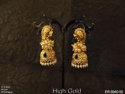 Jhumki Style Temple Earrings