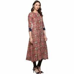 Yash Gallery Designer Kalamkari Print Womens Cotton Anarkali Kurta