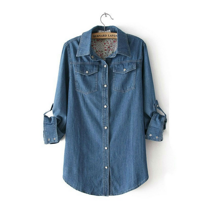 be947c771 Blue Denim Cotton Casual Women Polo Shirts