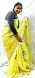 Party Wear Yellow Marvelous Handloom Pure Linen Embroidery Saree
