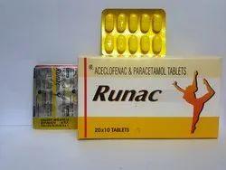 Aceclofenac With Paracetamol Tablet, Packaging Type: Strip, Packaging Size: 20 x 10
