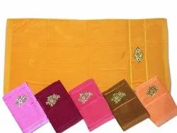 Multicolor Plain Cotton Shearing Towel with Embroidery