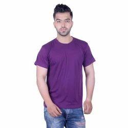 Men Purple Solid Round Neck Slim Fit T-Shirt