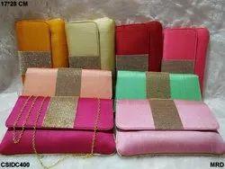 Beautiful Colorful Raw Silk Clutch Bags