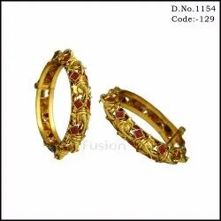 Traditional Antique Gold  Bangles with Ruby Stones