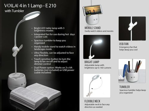 Voila: 4 In 1 Tumbler With Led Lamp, Table Fan And Mobile Stand (dual  Power) (usb Cable Included)